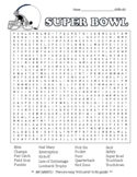 Super Bowl DIFFICULT word search and coloring page