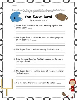 Super Bowl: Fact and Opinion