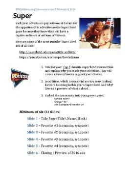 Super Bowl Favorite Commercials assignment