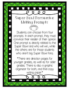 Super Bowl {Football} Persuasive/Opinion Writing Prompts (Primary &Upper Grades)