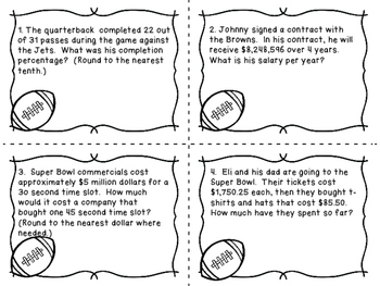 Super Bowl!  Football Themed Word Problem Task Cards