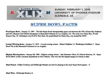 Super Bowl Fraction Worksheets