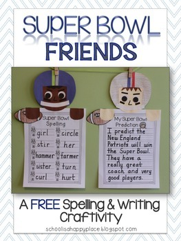 Super Bowl Friends {A FREE Spelling & Writing Craftivity}