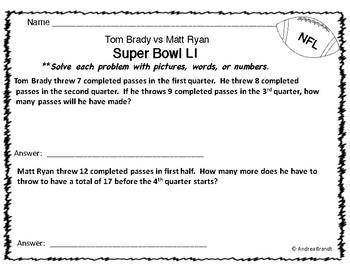 Super Bowl LI - 2017, Math and Morning Work