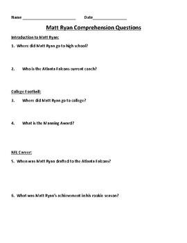 Super Bowl LI, Matt Ryan Nonfiction Passage and Comprehension Questions