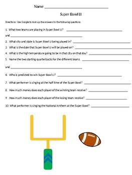 Super Bowl LI Questions to Practice Research