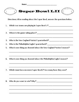 Super Bowl LI - Reading Passage and Questions & Math Activities