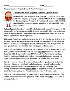 Super Bowl LI, Tom Brady nonfiction passage and reading comprehension questions