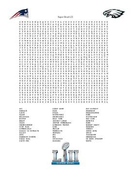 Super Bowl LII Word Search