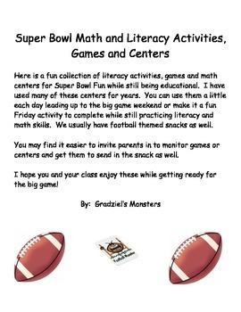 Super Bowl Math and Literacy Fun