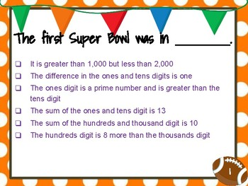 Super Bowl Mystery Numbers - Great for 8 Mathematical Practice Standards