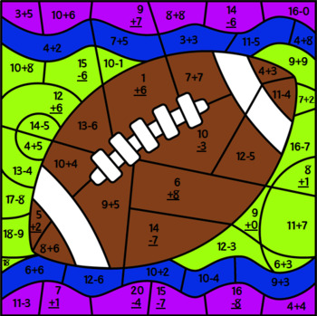 Super Bowl Mystery Picture ~ Addition & Subtraction Within 20 ~ Football