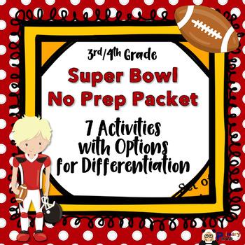 Super Bowl No Prep Packet 3rd/4th Grade