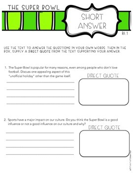 Super Bowl Non-Fiction Reading Comprehension & Graphic Organizer Pack