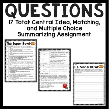 Super Bowl Reading Comprehension Worksheet, Central Idea, Summarizing