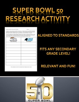 Super Bowl Research Activity