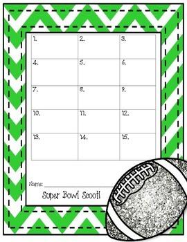 Super Bowl Math Scoot / Task Cards