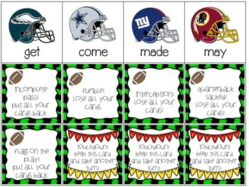 Super Bowl Sight Word Game - 1st 100 FRY