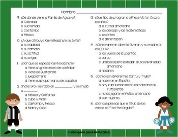 Hispanic Heritage Video Football Questions in English and Spanish