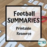 Summaries: Passages + Sorts + Worksheets (Football Themed)