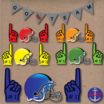 Super Bowl Sunday Football Clip Art- Helmets, Banners, Number One Fingers