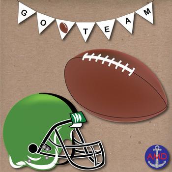 Super Bowl Sunday Football Clip Art- Helmets, Banners, Num