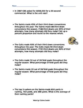Super Bowl Team Percentages & Unit Rates