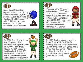 Super Bowl Word Problem Task Cards