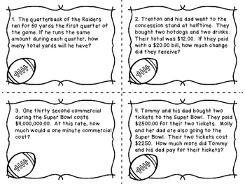 Super Bowl Word Problems Task Cards