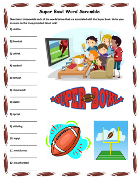 Super Bowl Word Scramble- 10 Words