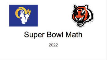 Super Bowl 52 Math Game- new for 2018