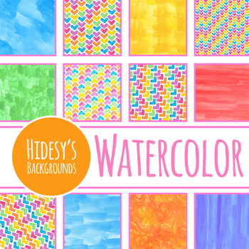 Super Bright Handpainted Watercolor Backgrounds / Digital Papers / Patterns