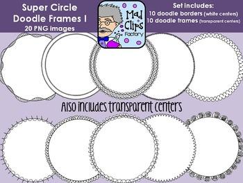 Super Circle Doodle Frames Set 1