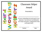 Super Classroom Helper Award