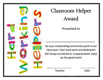 Super Classroom Helper Award