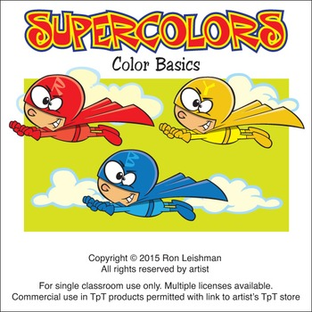 Super Hero Colors Cartoon Clipart