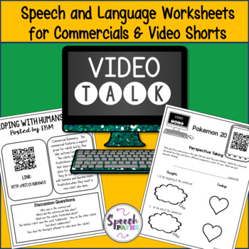 Video Talk: Speech & Language Worksheets for Commercials &