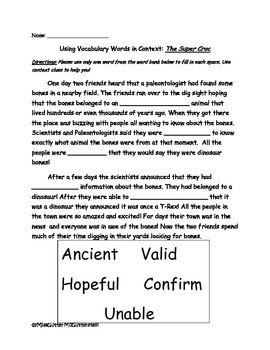 Super Croc- Vocabulary in Context  Worksheet - 2nd Grade T