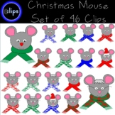 Christmas Mouse Clip Art Set of 46 Festive Holiday Scarf S