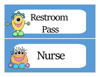 Super Cute Little Monster Master Schedule Cards and Classroom Labels