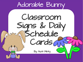 Super Cute Master & Daily Schedule Cards, plus Classroom labels  Bunny Theme