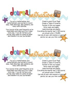 Super Cute Math Journal Printable Labels and Instructions