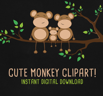 Super Cute Monkey Family Character ClipArt School Set