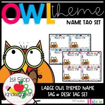 Super Cute Owl Name Tag Set