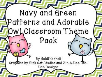 Super Cute Owls and Green and Navy Geometric Patterns Huge Theme Pack