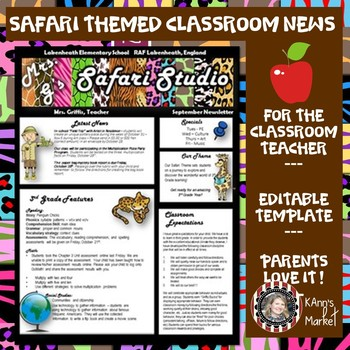 Classroom Newsletter- Safari Theme- Editable with Ideas- Meet the Teacher!
