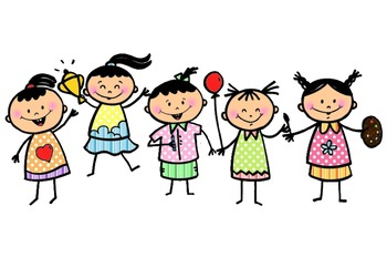 Everyday Kids, Stick Figures Colored Clipart