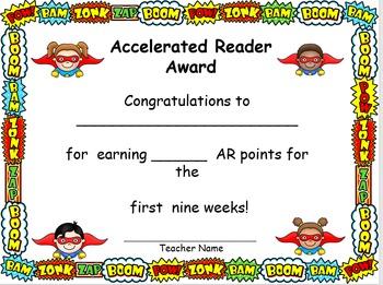 Super Cute Super Hero Accelerated Reader Award Certificates