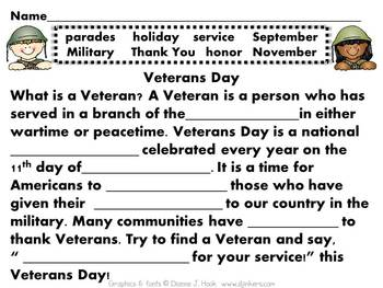 Super Cute Veterans Day Mini-Unit! FREEBIE!
