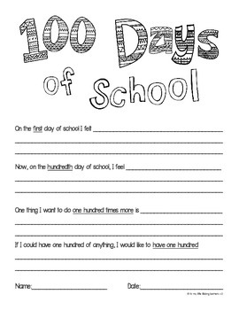 Super Cute Written Reflection Sheet for 100 Days in School